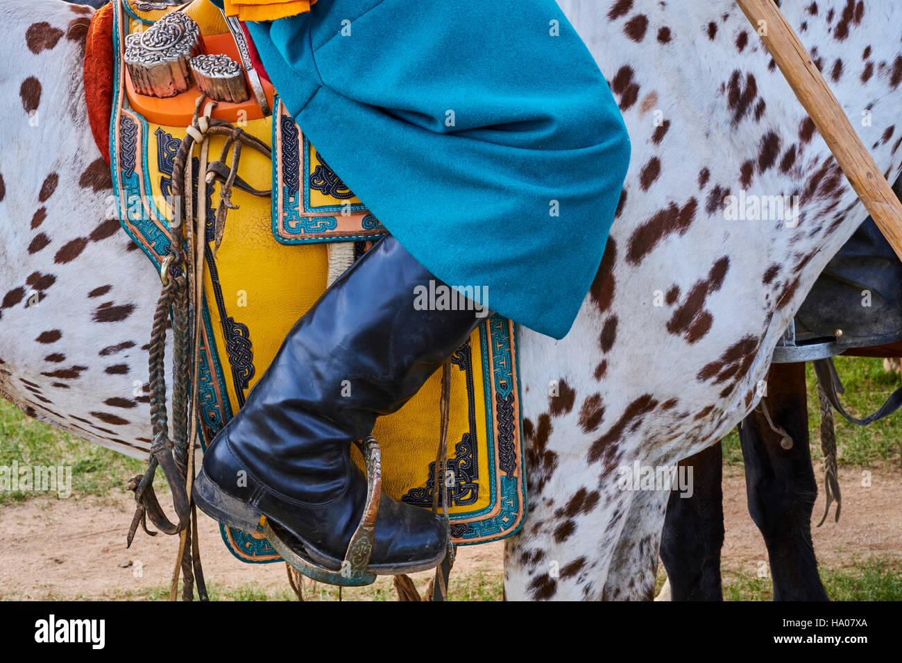 Mongolia, Bayankhongor province, a saddle decorated Stock Photo