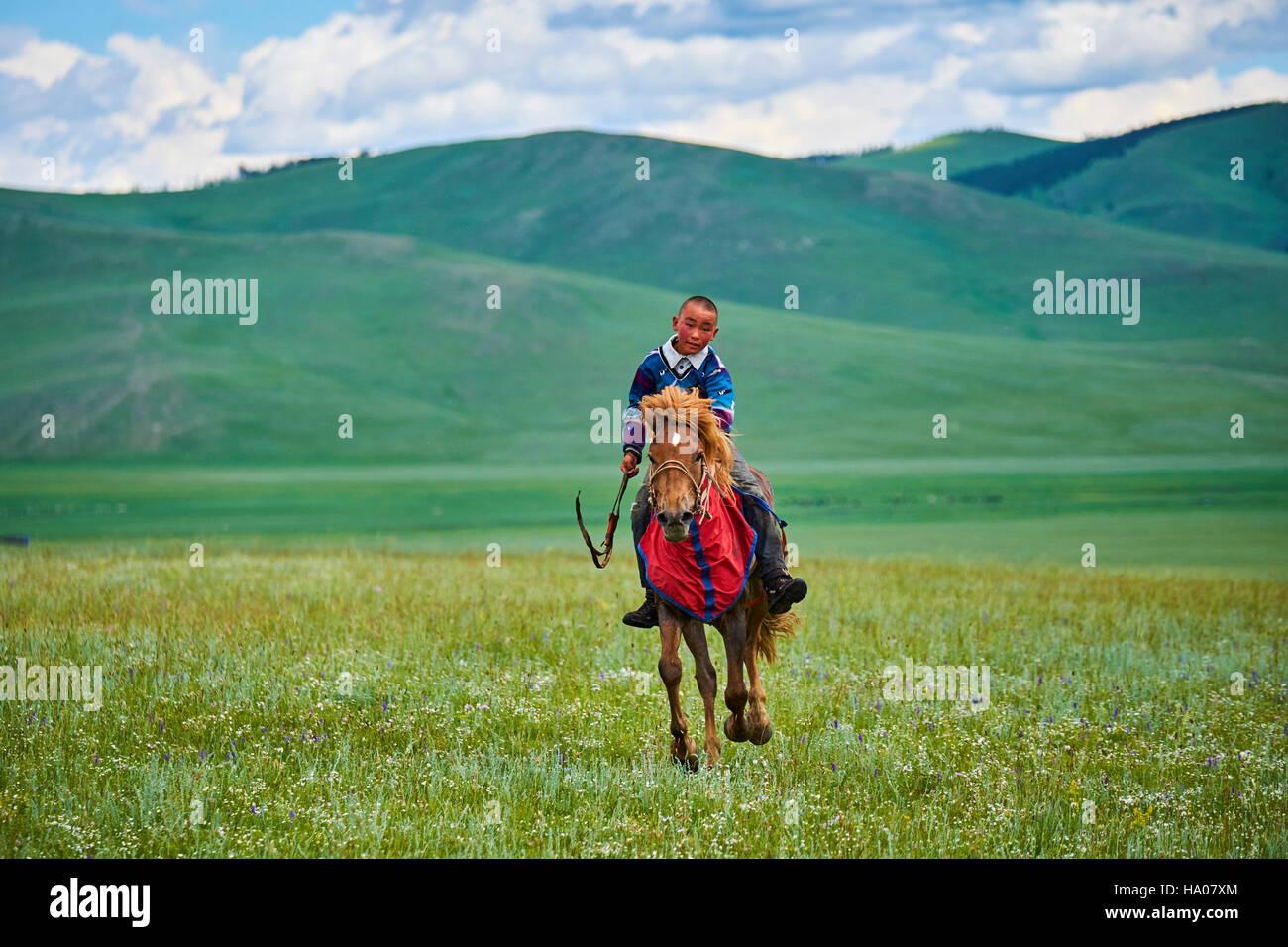 Mongolia, Bayankhongor province, Naadam, traditional festival, horse racing - Stock Image