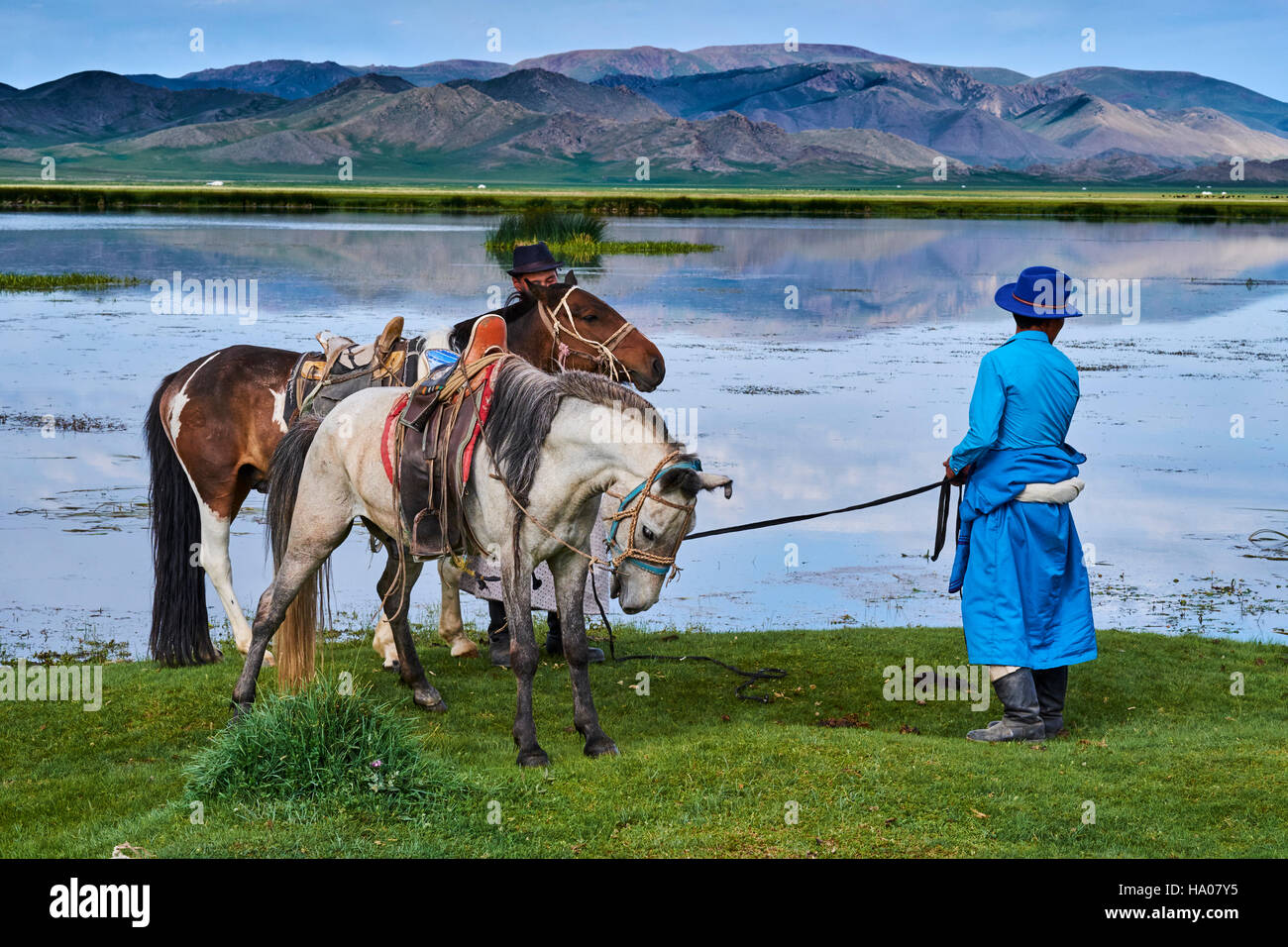 Mongolia, Bayankhongor province, Naadam, traditional festival, young nomad near a lake - Stock Image