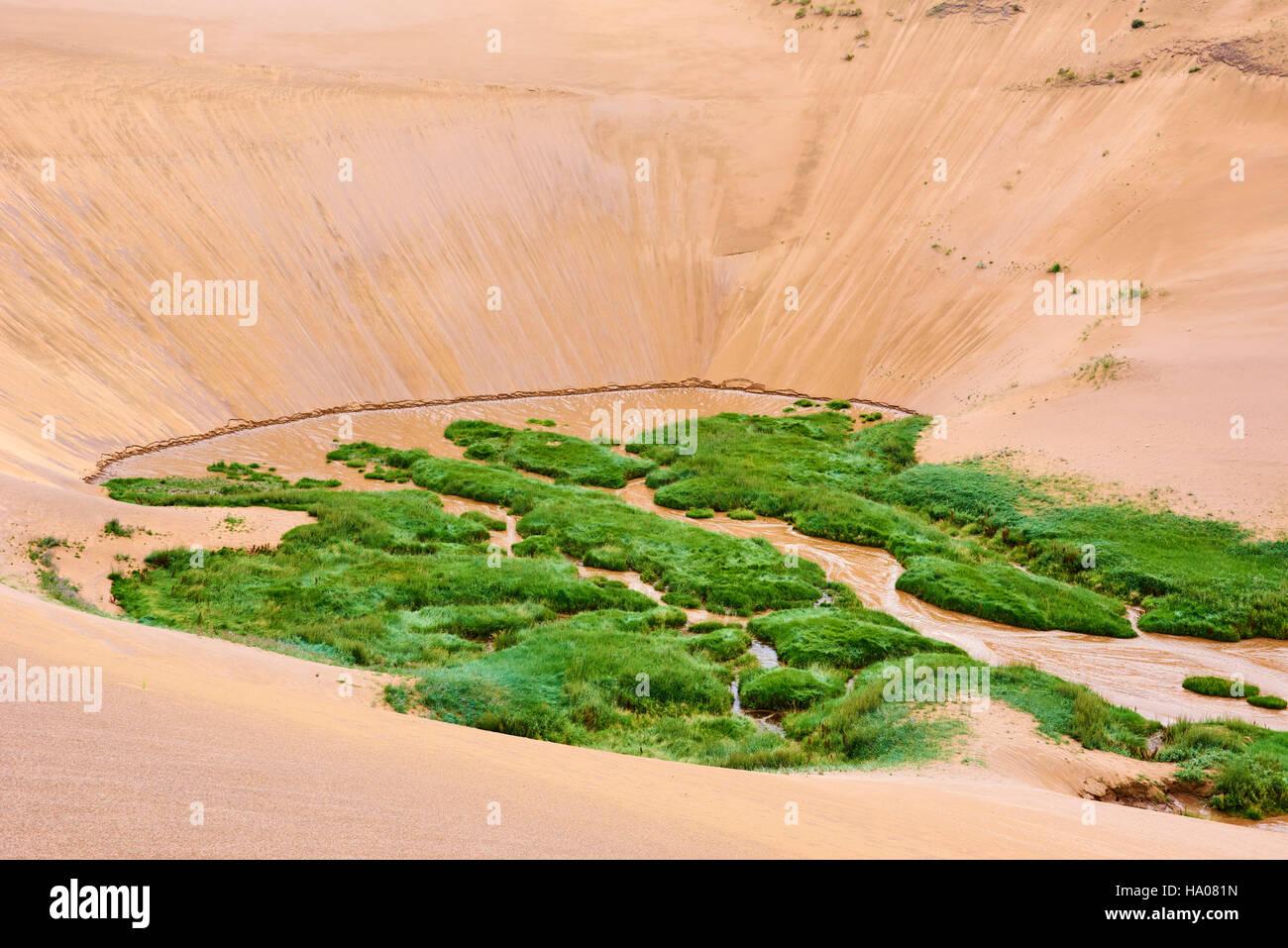 Mongolia, Zavkhan province, deserted landscape of sand dunes in the steppe Stock Photo