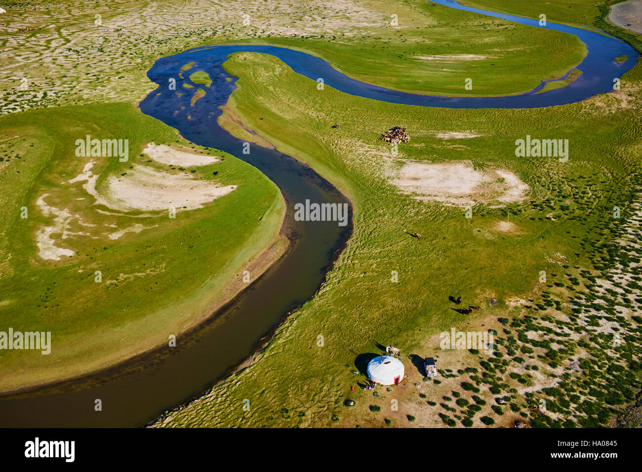 Mongolia, Bayan-Ulgii province, western Mongolia, nomad camp of Kazakh people in the steppe Stock Photo