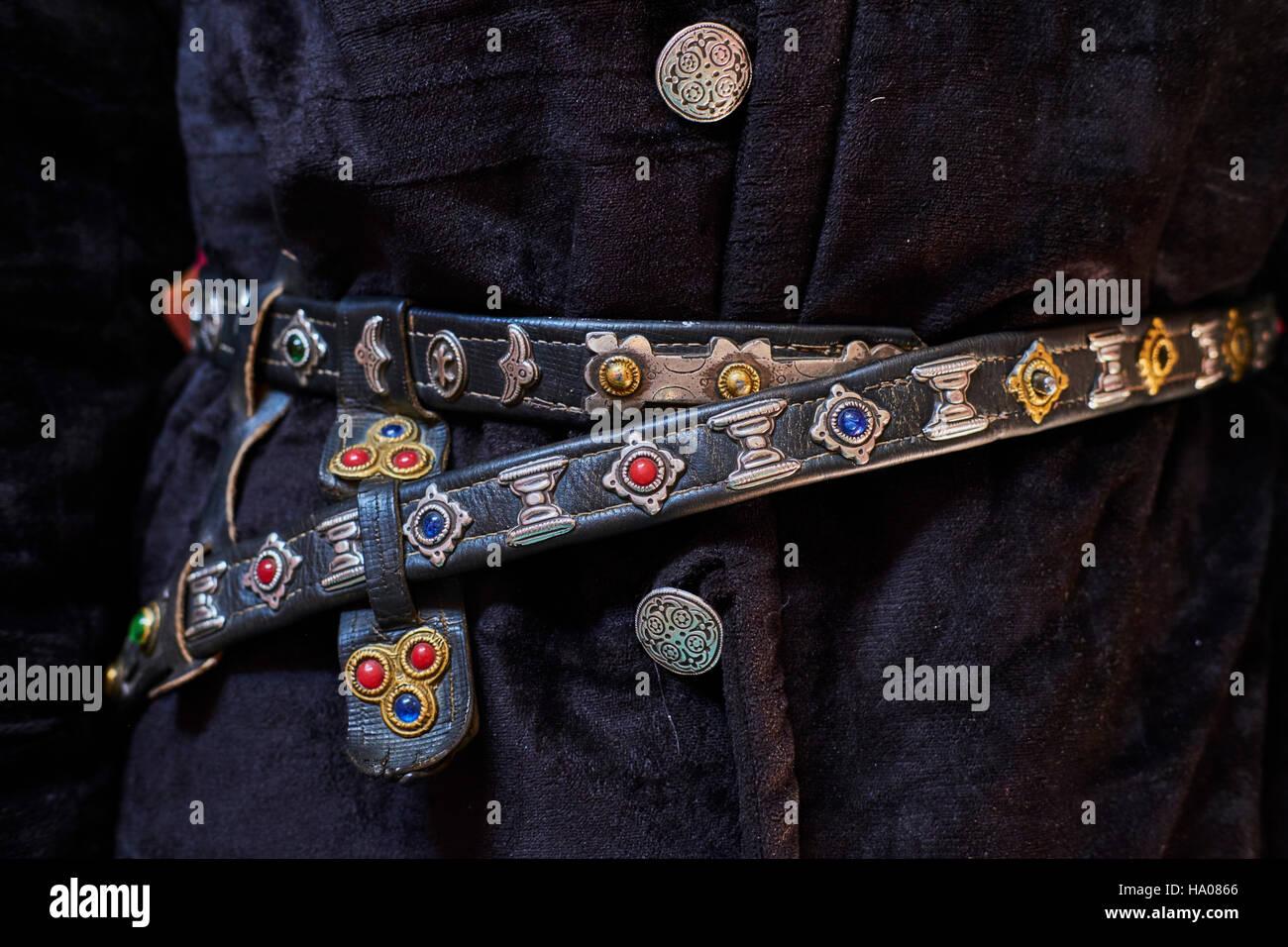 Mongolia, Bayan-Ulgii province, western Mongolia, detail of a Kazakh costum, belt - Stock Image