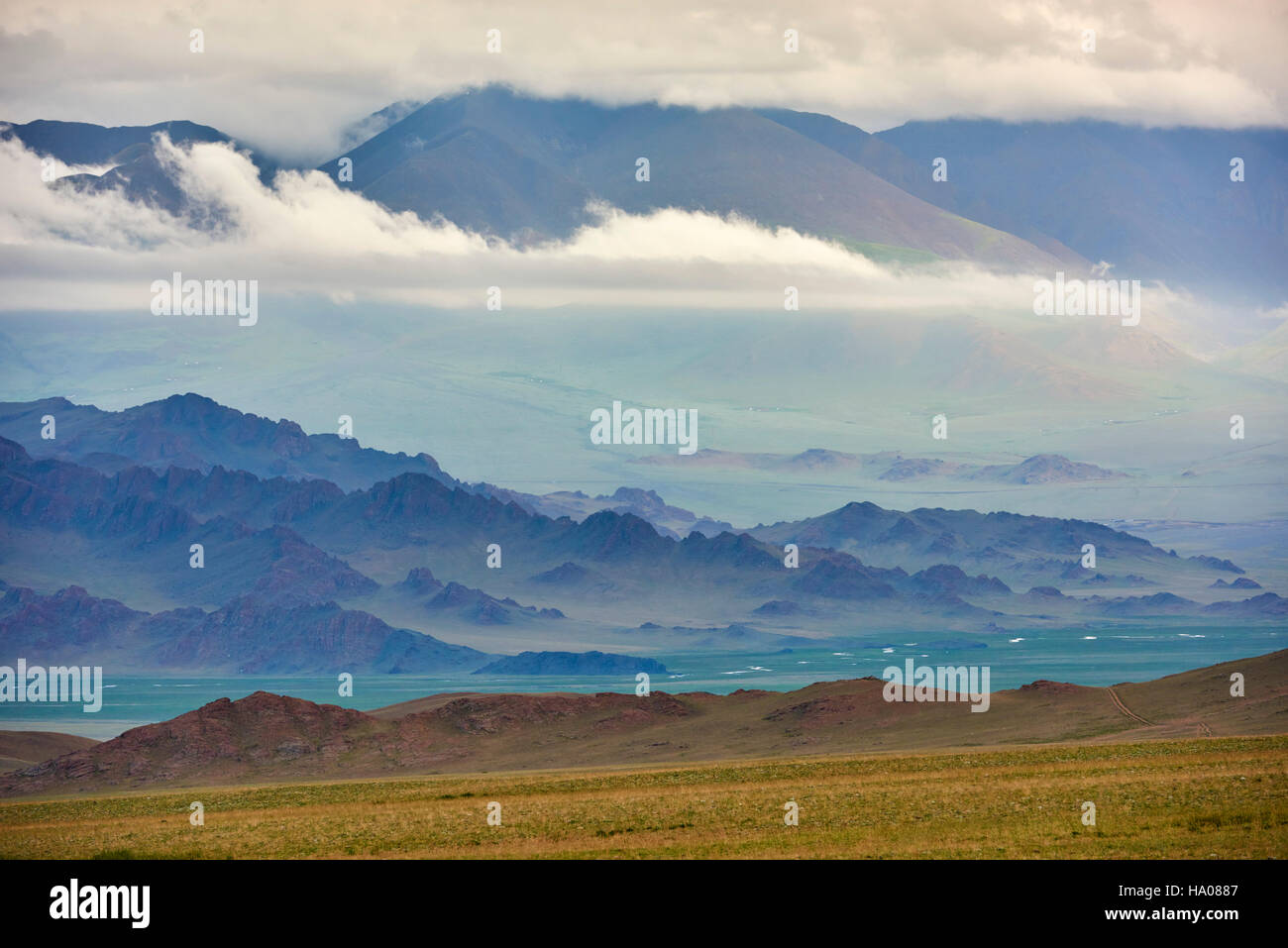 Mongolia, Bayan-Ulgii province, western Mongolia, the colored mountains of the Altay - Stock Image