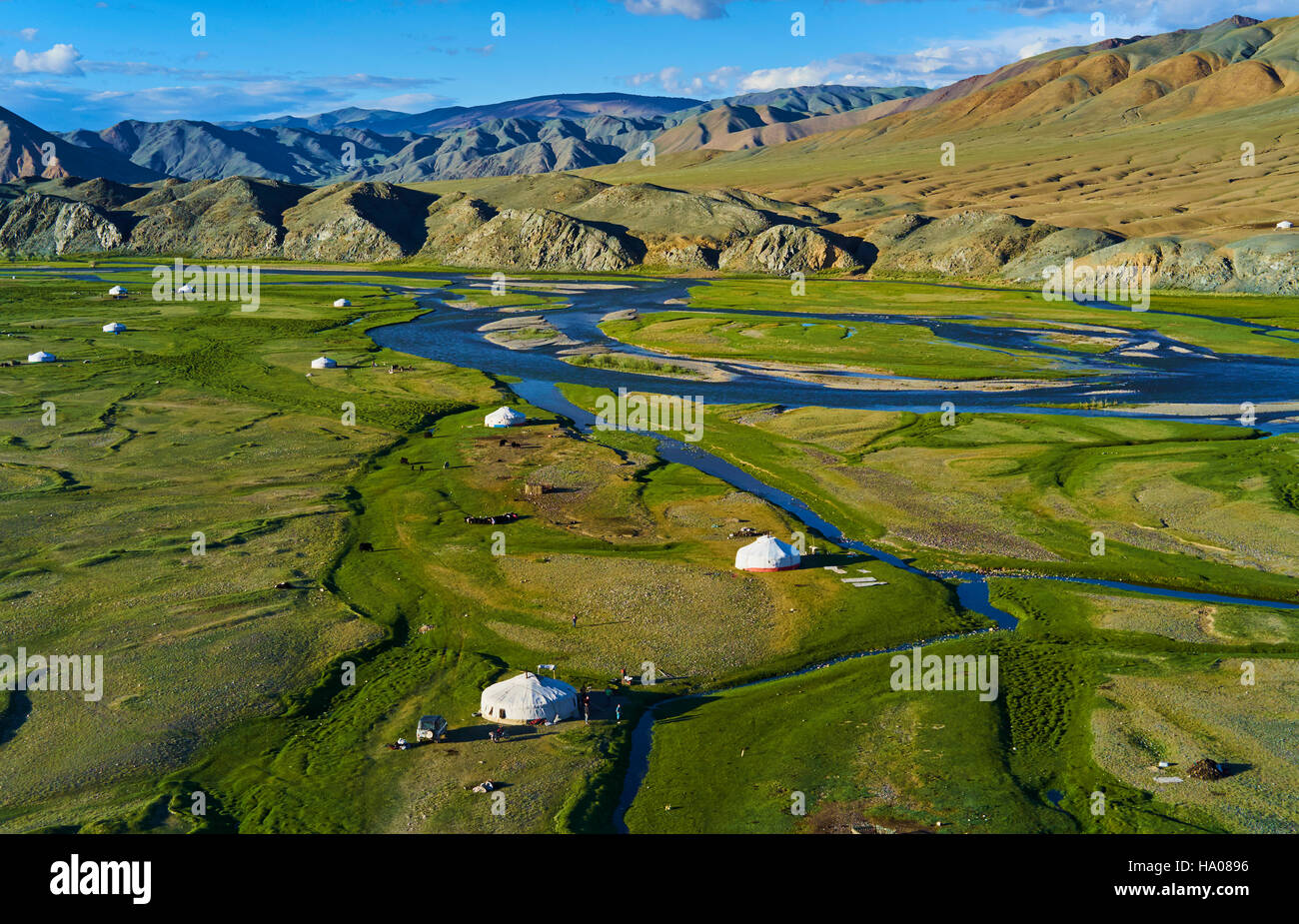 Mongolia, Bayan-Ulgii province, western Mongolia, the delta of the Sagsay river in the Altay mountains - Stock Image