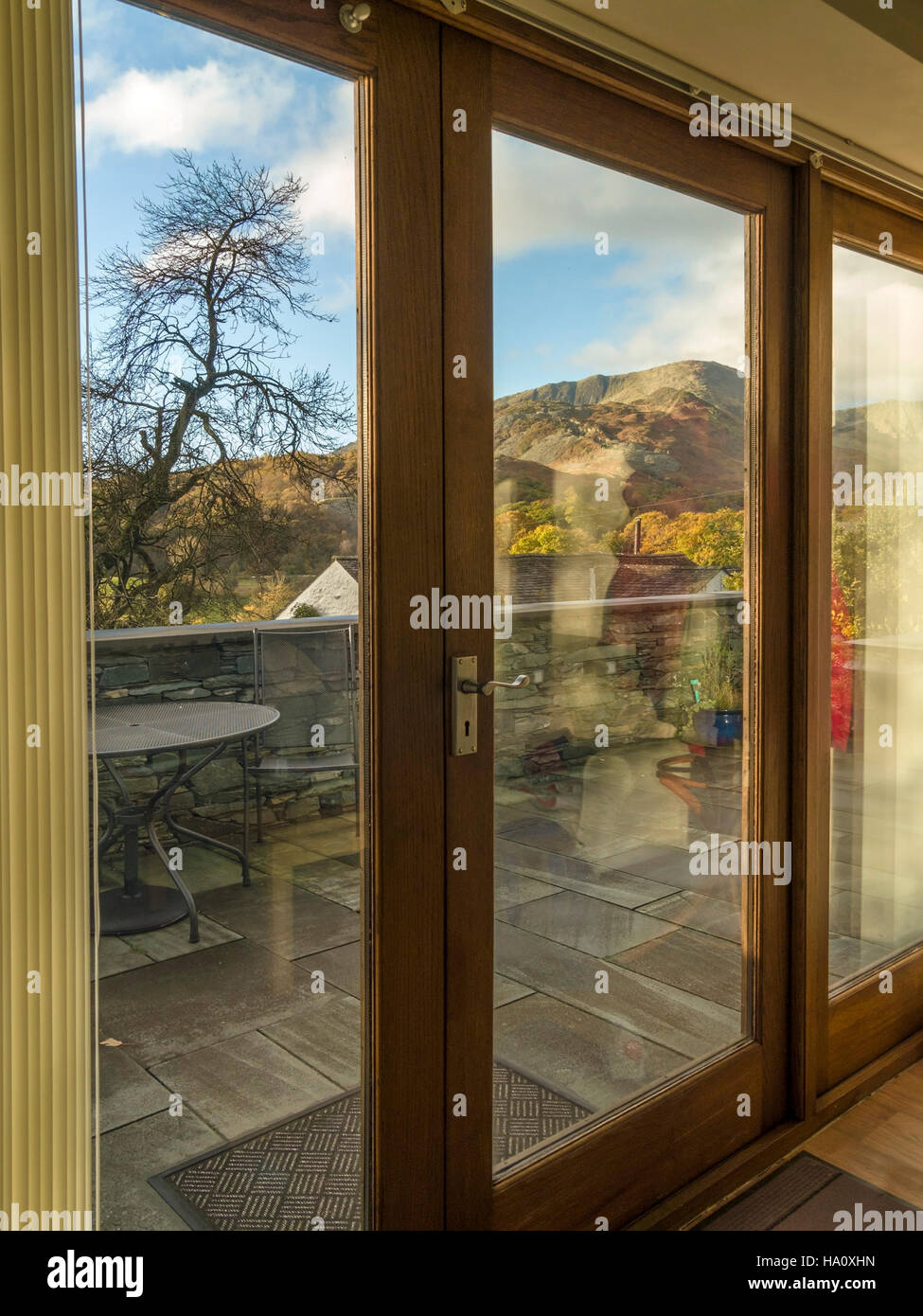 Wooden Bi Folding Patio Doors With Pretty Lakeland View, Little Langdale,  Cumbria, England, UK.