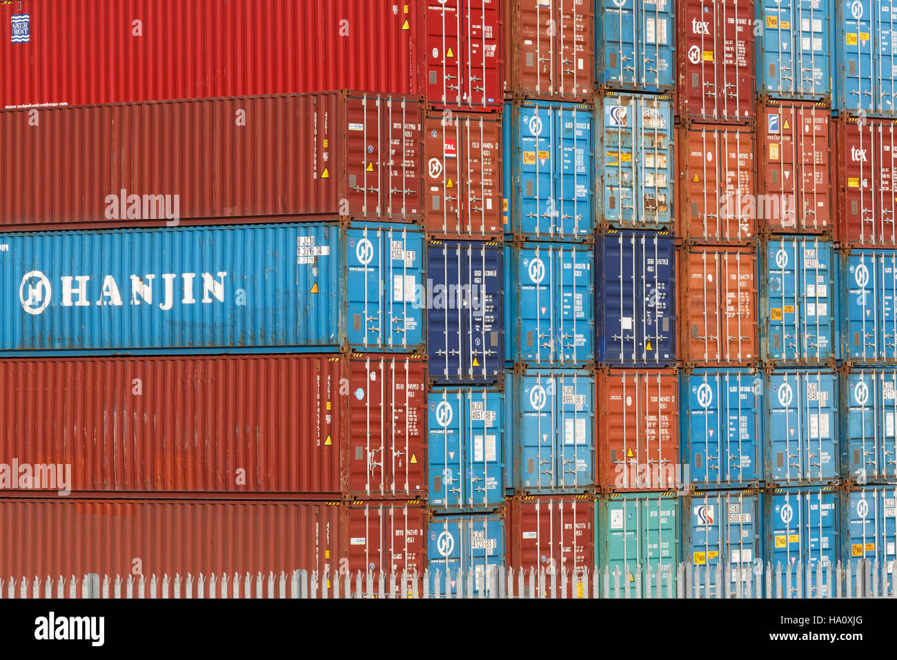 Stack of Hanjin shipping containers, side and end view Stock Photo