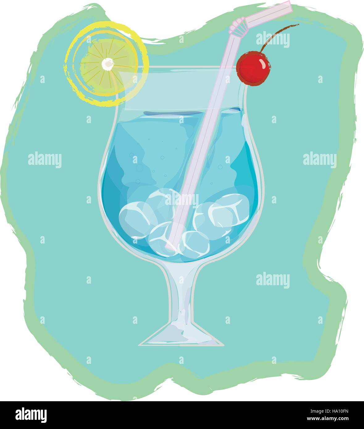 Blue lagoon cocktail - popular alcoholic drink in vector Stock Vector
