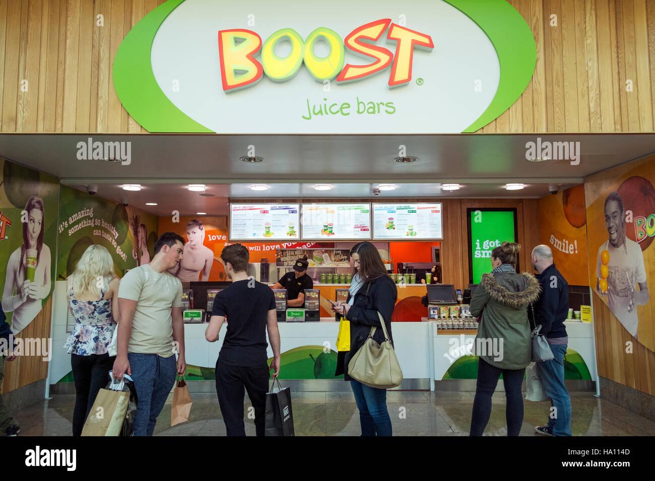 'Boost' fruit juice bars inside the Trafford Centre, Manchester, UK - Stock Image
