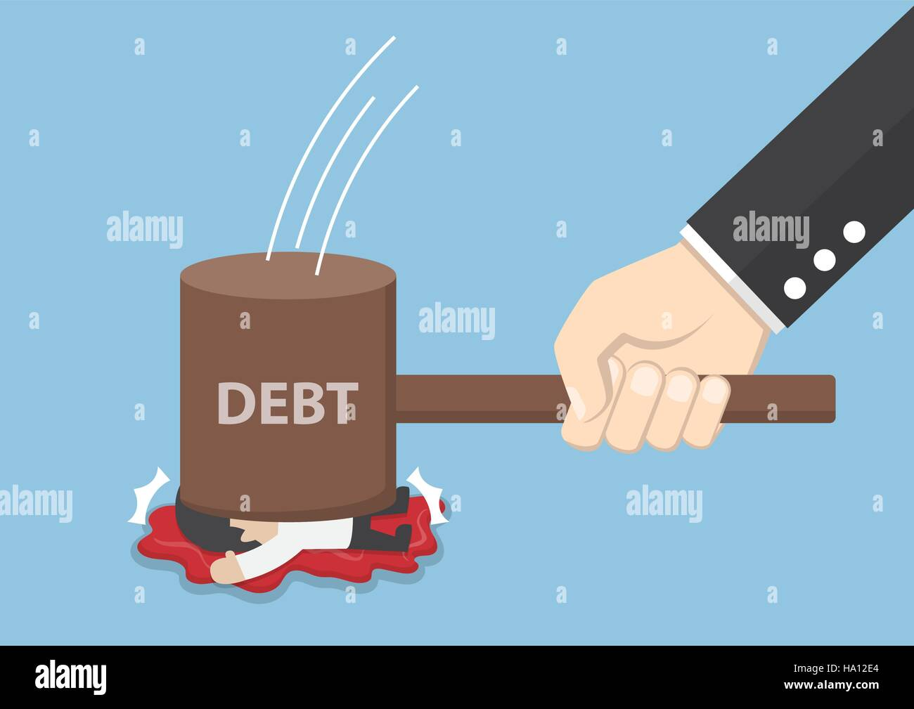 Businessman smashed by hammer of debt, financial and debt concept - Stock Vector
