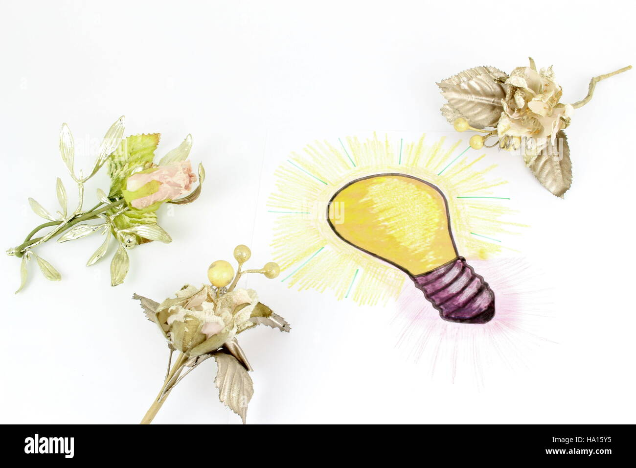 A stylised illustration of a light bulb that has been sketched on a sheet of paper. Idea of a gift with floral decorations. - Stock Image