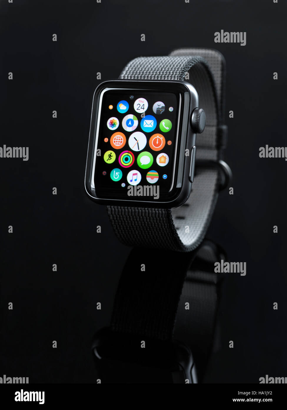 Shiny Steel Apple Watch Series 2 Smartwatch With App Icons On Display Stock Photo Alamy
