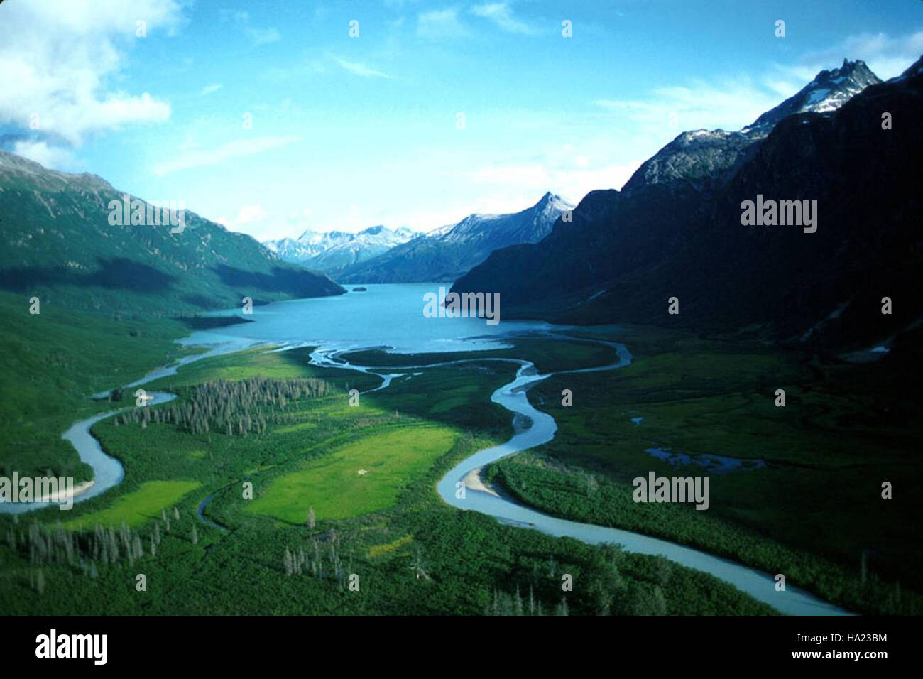 lakeclarknps 25256076866 Aerial view of the river flowing into Crescent Lake - Stock Image