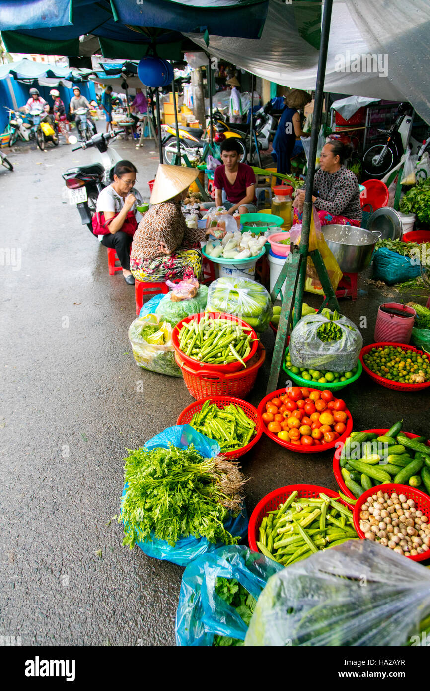 Market, Sa Dec, Mekong River, Vietnam, Asia - Stock Image