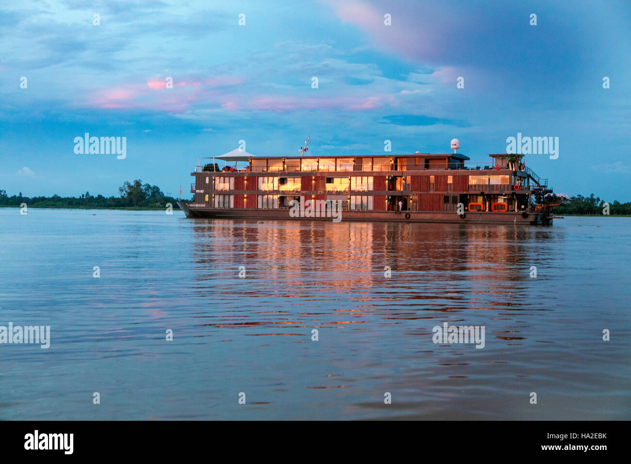 Aqua Expeditions, Mekong River, Cruise, Vietnam, Asia - Stock Image