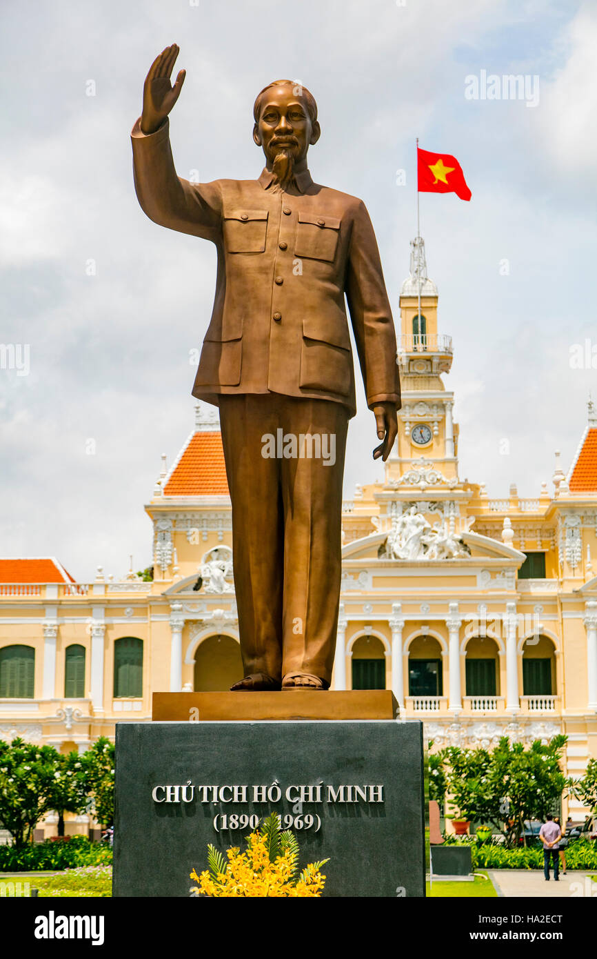 Ho Chi Minh Statue People's Committee Building Saigon Vietnam - Stock Image