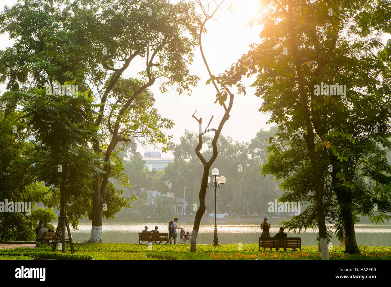 Hoan Kiem Lake, Old Quarter, Hanoi, Vietnam, Asia - Stock Image