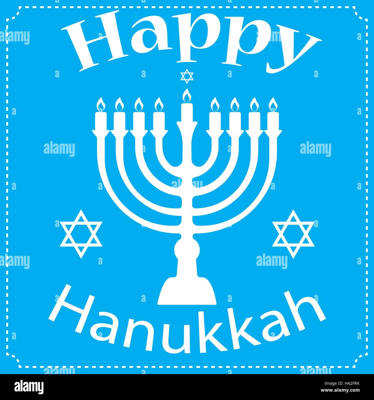 Hanukkah Typographic Vector Design - Happy Hanukkah. Jewish holiday. Hanukkah Menorah on Light Blue Background Stock Vector