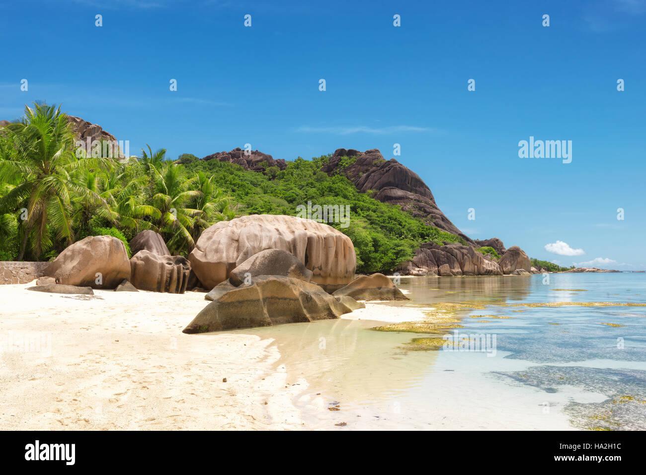Anse Source d'Argent beach, La Digue Island, Seyshelles - Stock Image