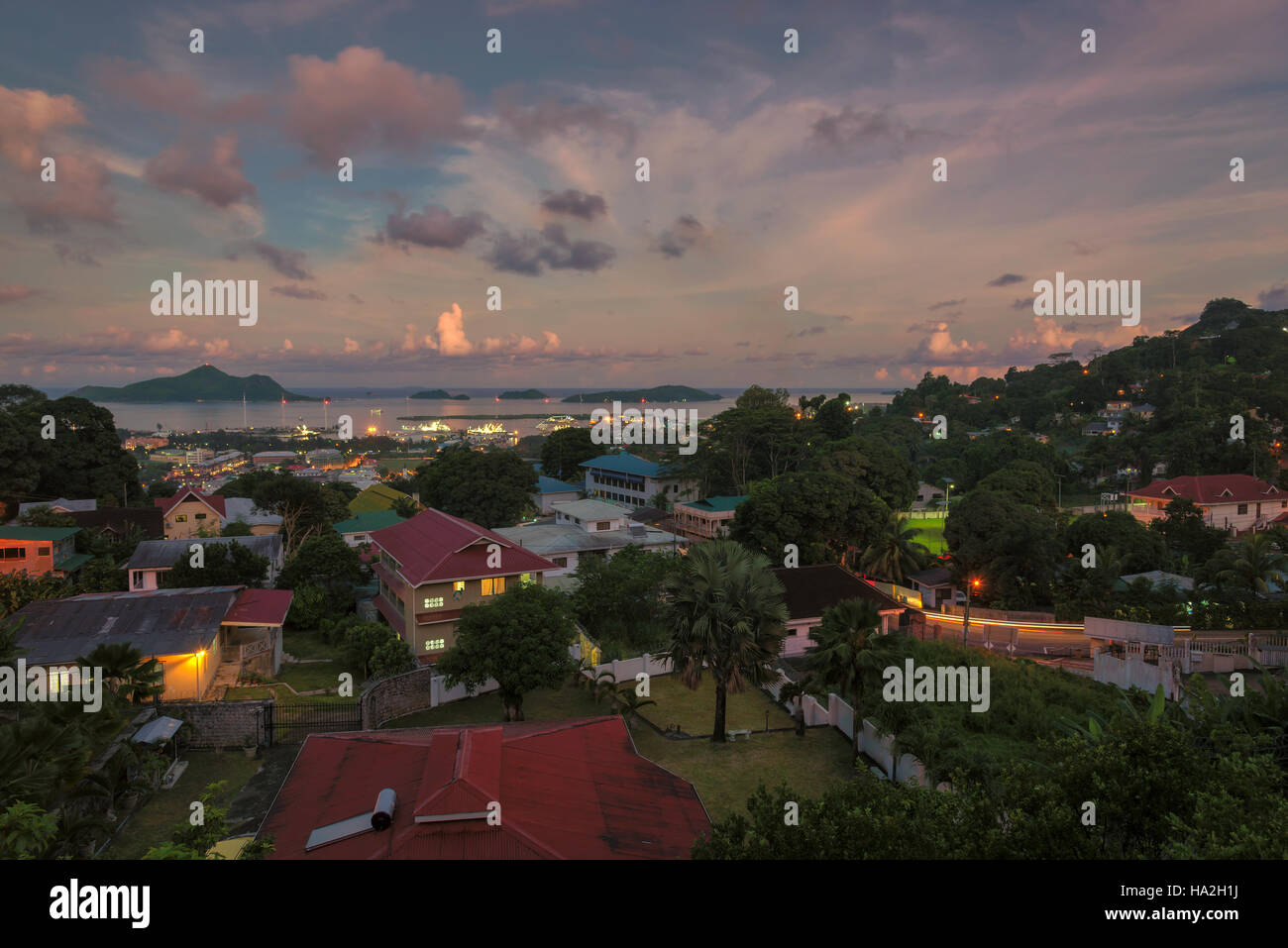 Aerial view of Seychelles capital Victoria at sunset, Mahé - Stock Image