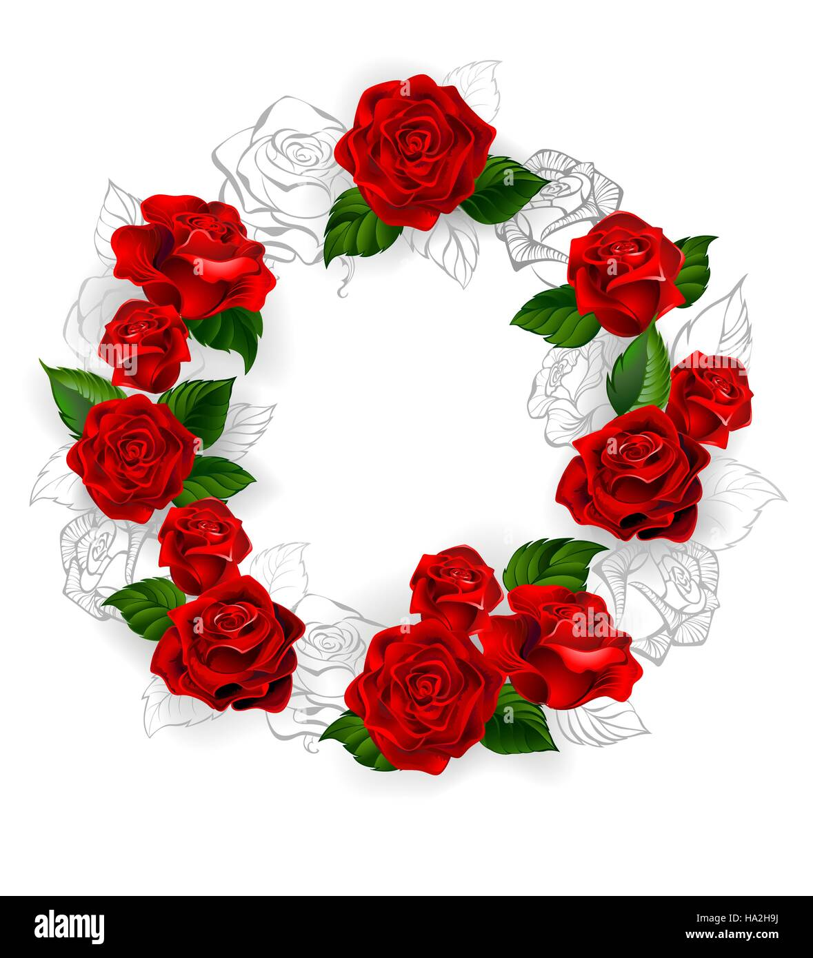 Circle Of Red Volume And Draw A Pencil Outline Of Roses On A White