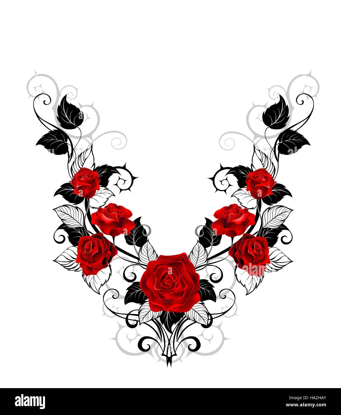 Symmetrical Pattern Of Red Roses And Black Leaves And Stems On A