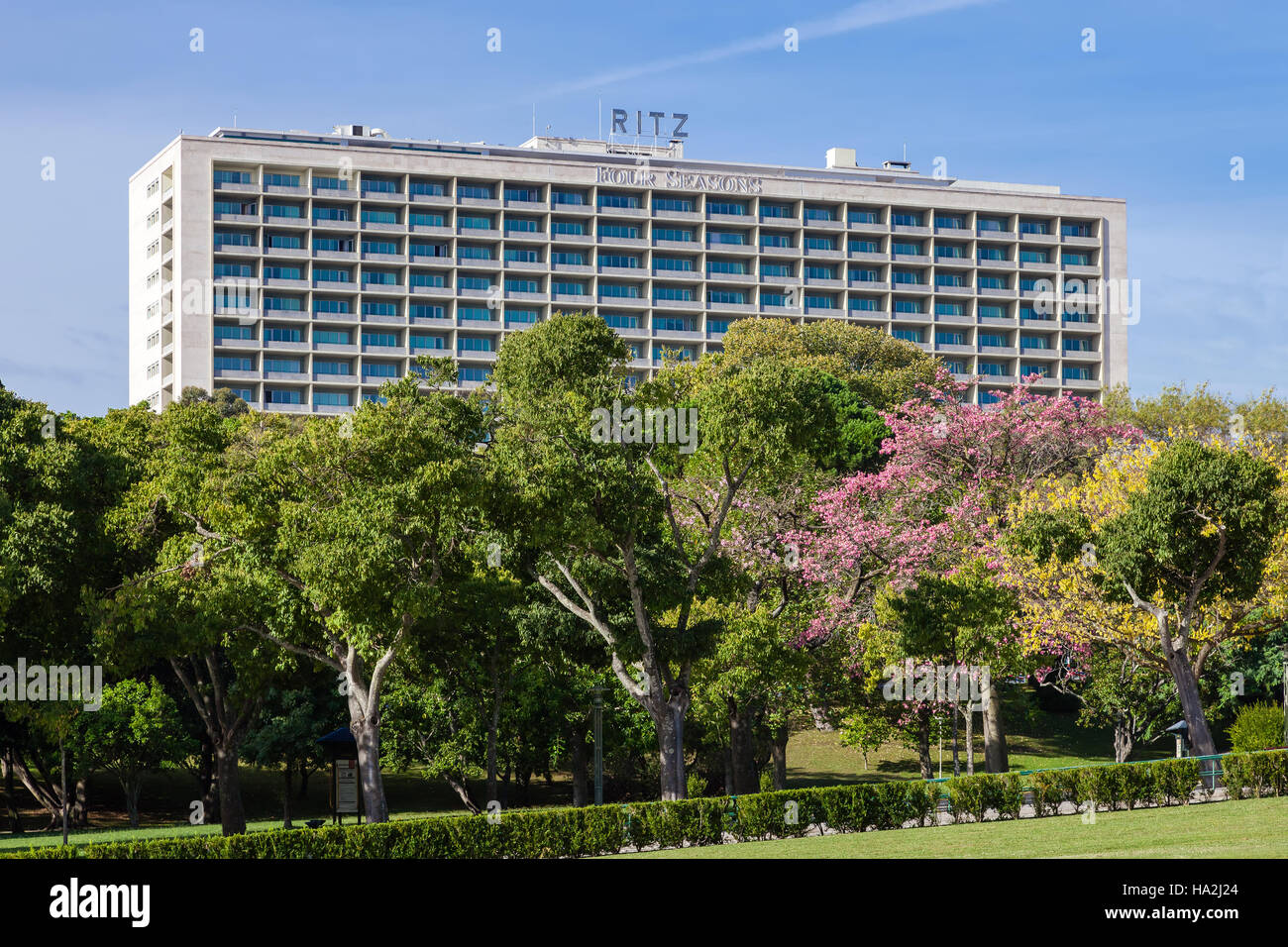 Lisbon, Portugal - October 19, 2016: The Four Seasons Hotel Ritz. A five star hotel located next to the famous Eduardo - Stock Image