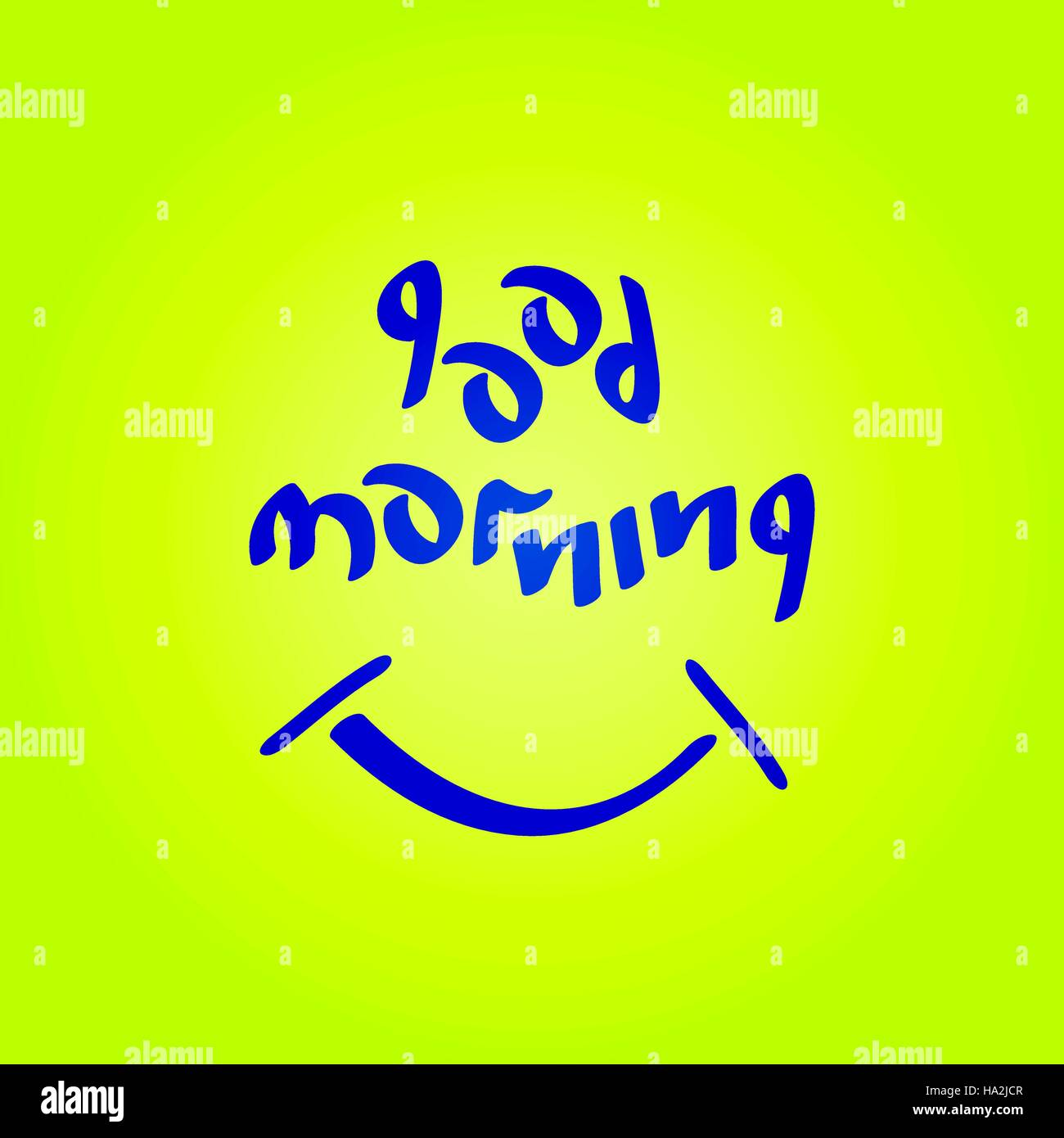Good Morning Text With Smiling Symbol Fun Positive Mood Vector Stock
