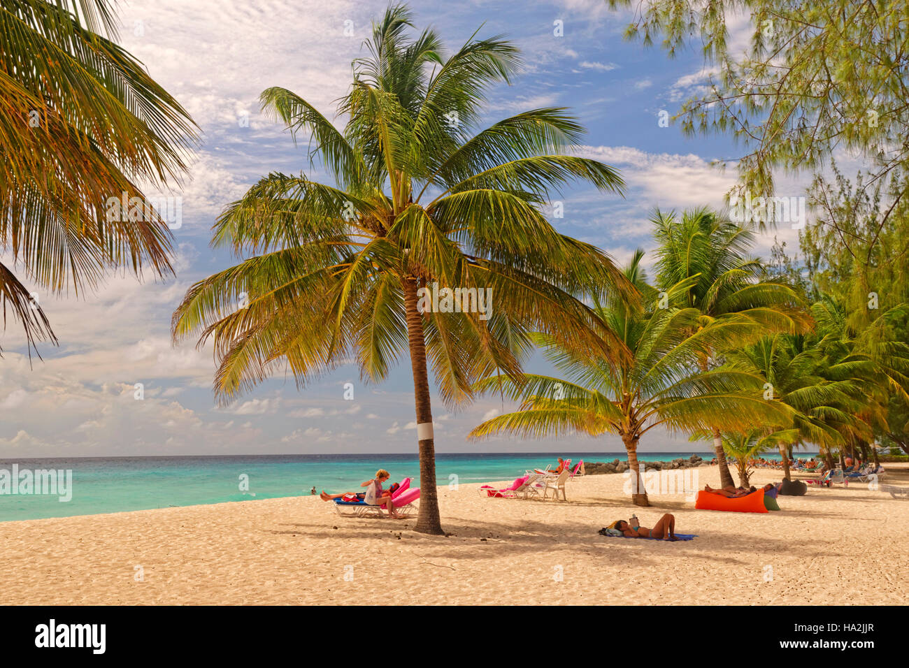 Dover Beach in front of Souther Palms Hotel, St. Lawrence Gap, Barbados, Caribbean. - Stock Image