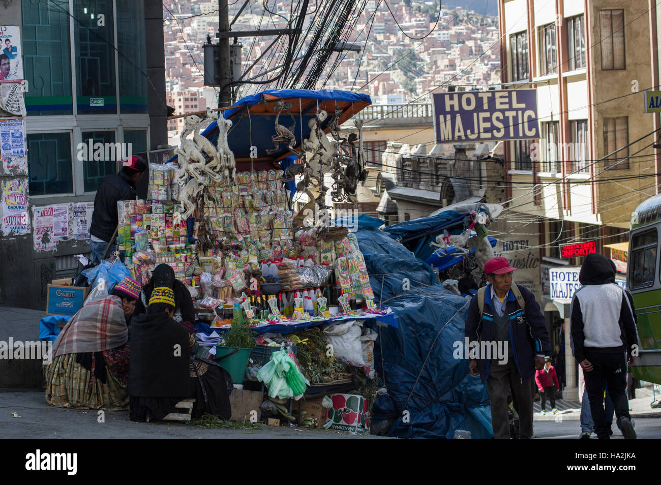 Witch stall in Illampu near the witches market in La Paz, Bolivia, dried llama fetuses and the Hotel Majestic in - Stock Image