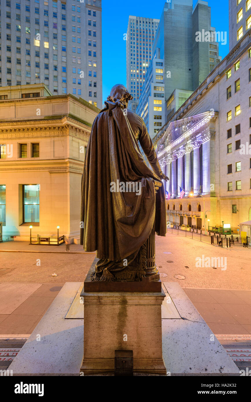 New York City cityscape at Wall Street from Federal Hall. - Stock Image