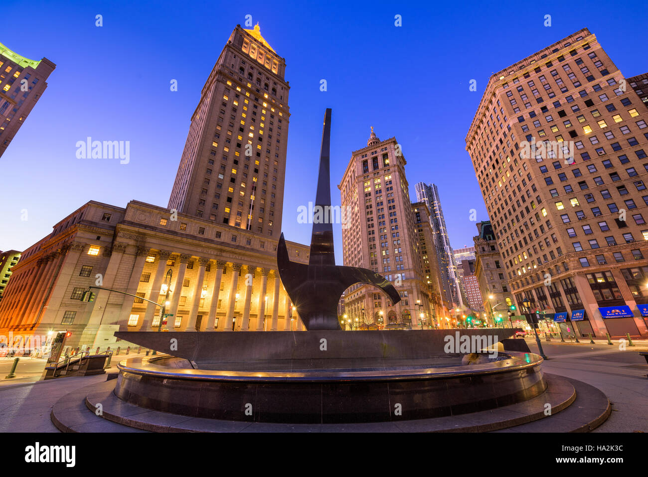 NEW YORK CITY - NOVEMBER 11, 2016: The Triumph of the Human Spirit sculpture at Foley Square in the Civic Center - Stock Image