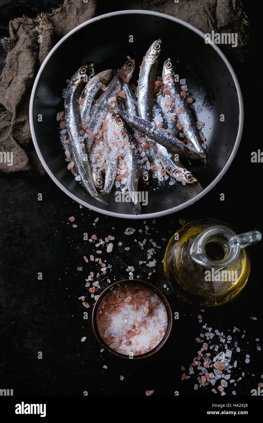 Raw fresh anchovies fishes Stock Photo
