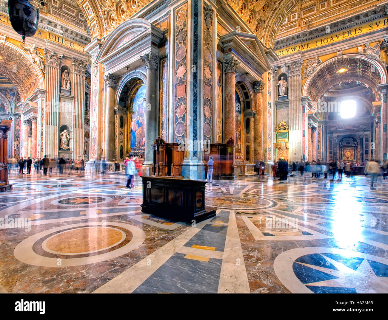 Interior of St Peter's Basilica in Rome, Italy - Stock Image