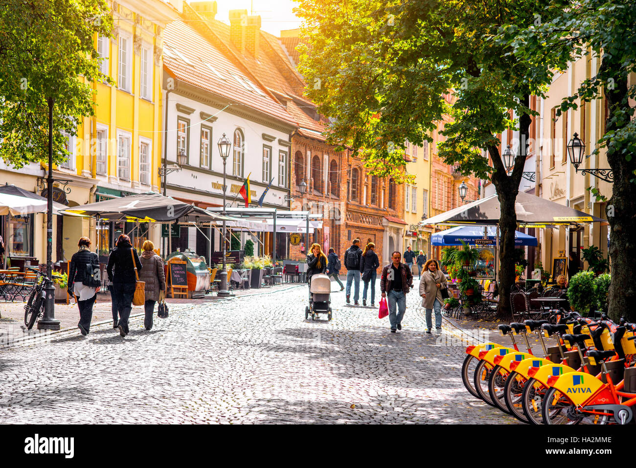 Street view in Vilnius - Stock Image