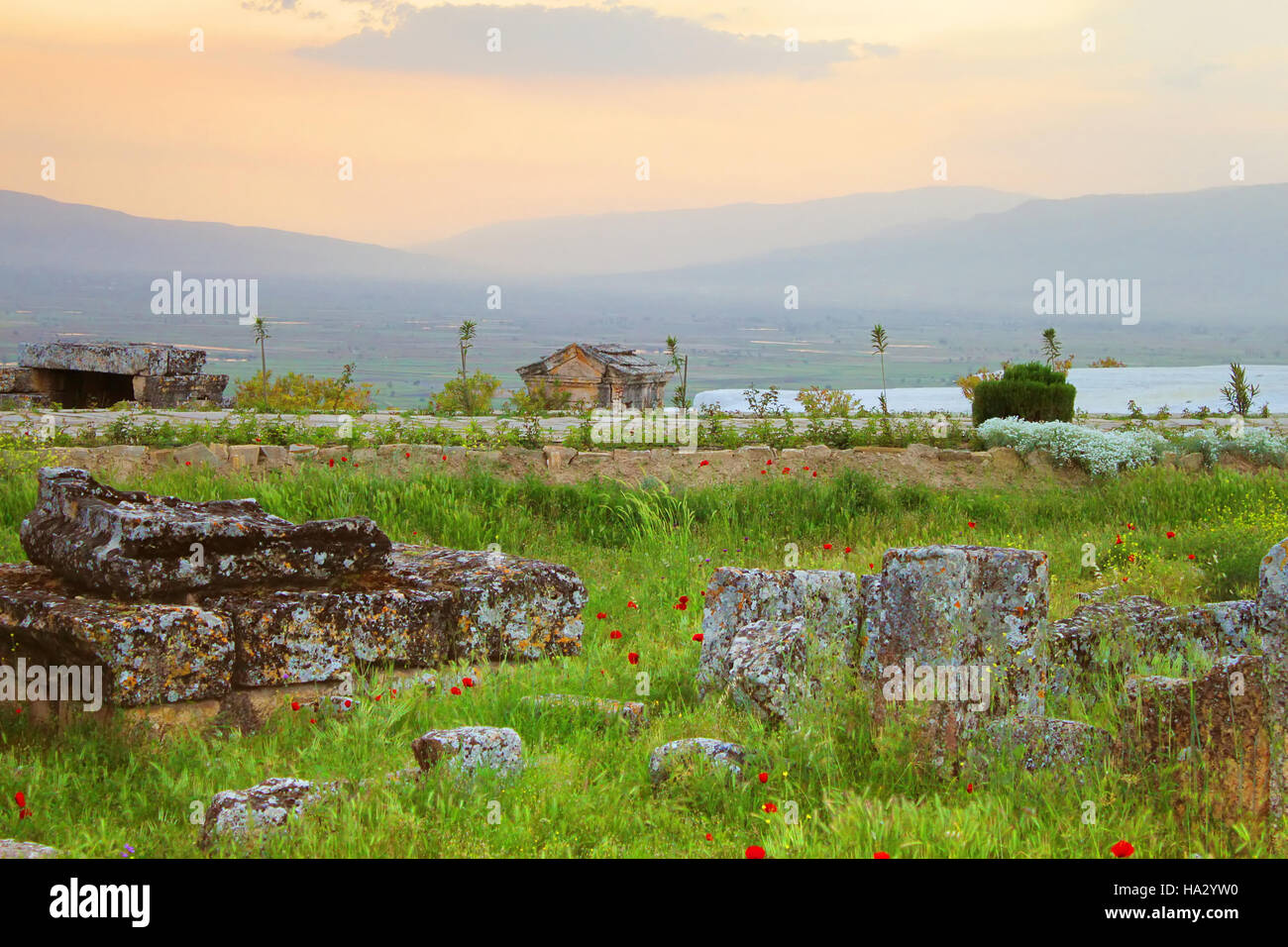 Ruins of the ancient city of Hierapolis spring in the evening, Turkey - Stock Image