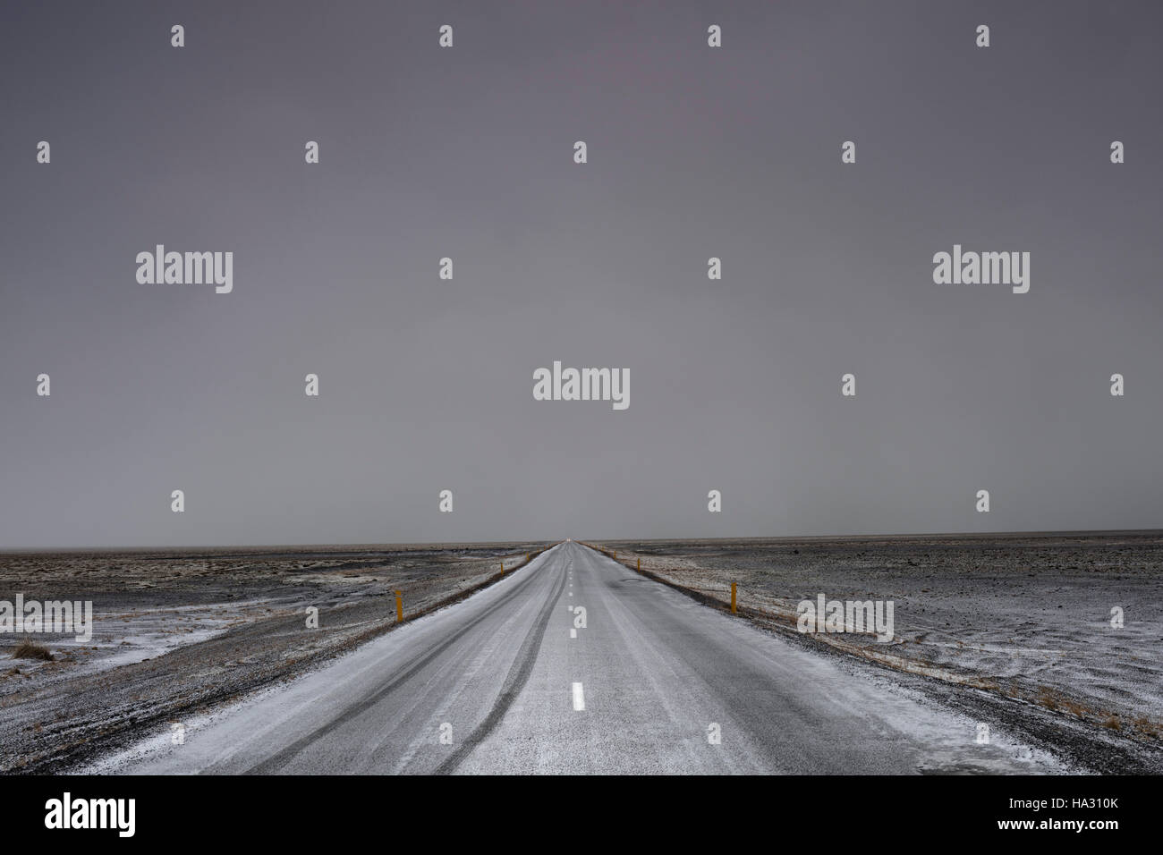 Highway 1 road near Hofn in Iceland - Stock Image