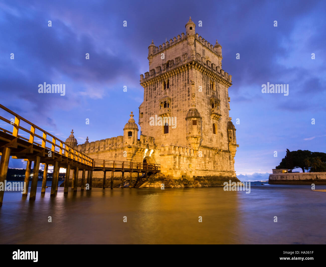Torre de Belem on the bank of Tagus river in Lisbon, Portugal, at night. Stock Photo
