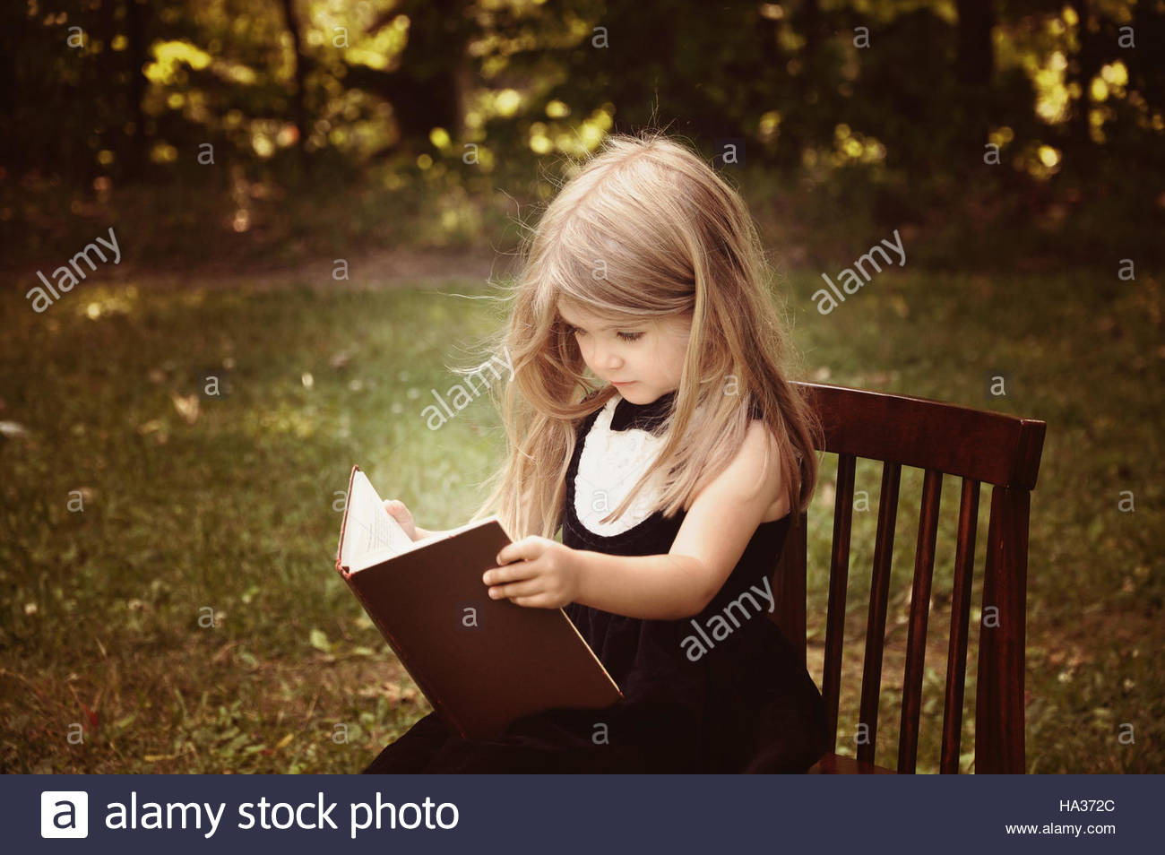 A smart little girl is reading an old book in nature with trees in the background for an education or knowledge - Stock Image