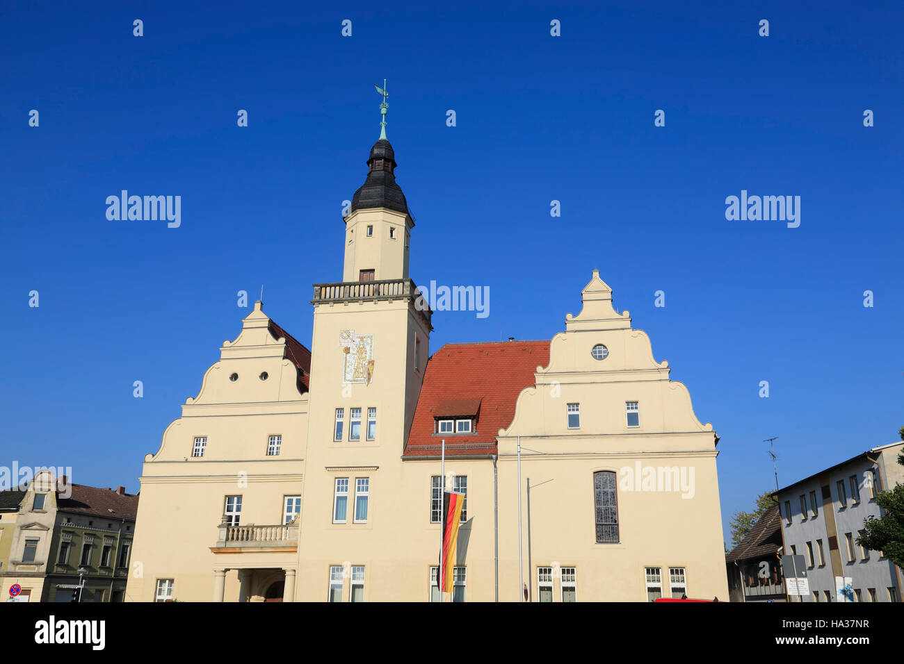 Town hall, Coswig / Elbe, Saxony-Anhalt, Germany, Europe - Stock Image