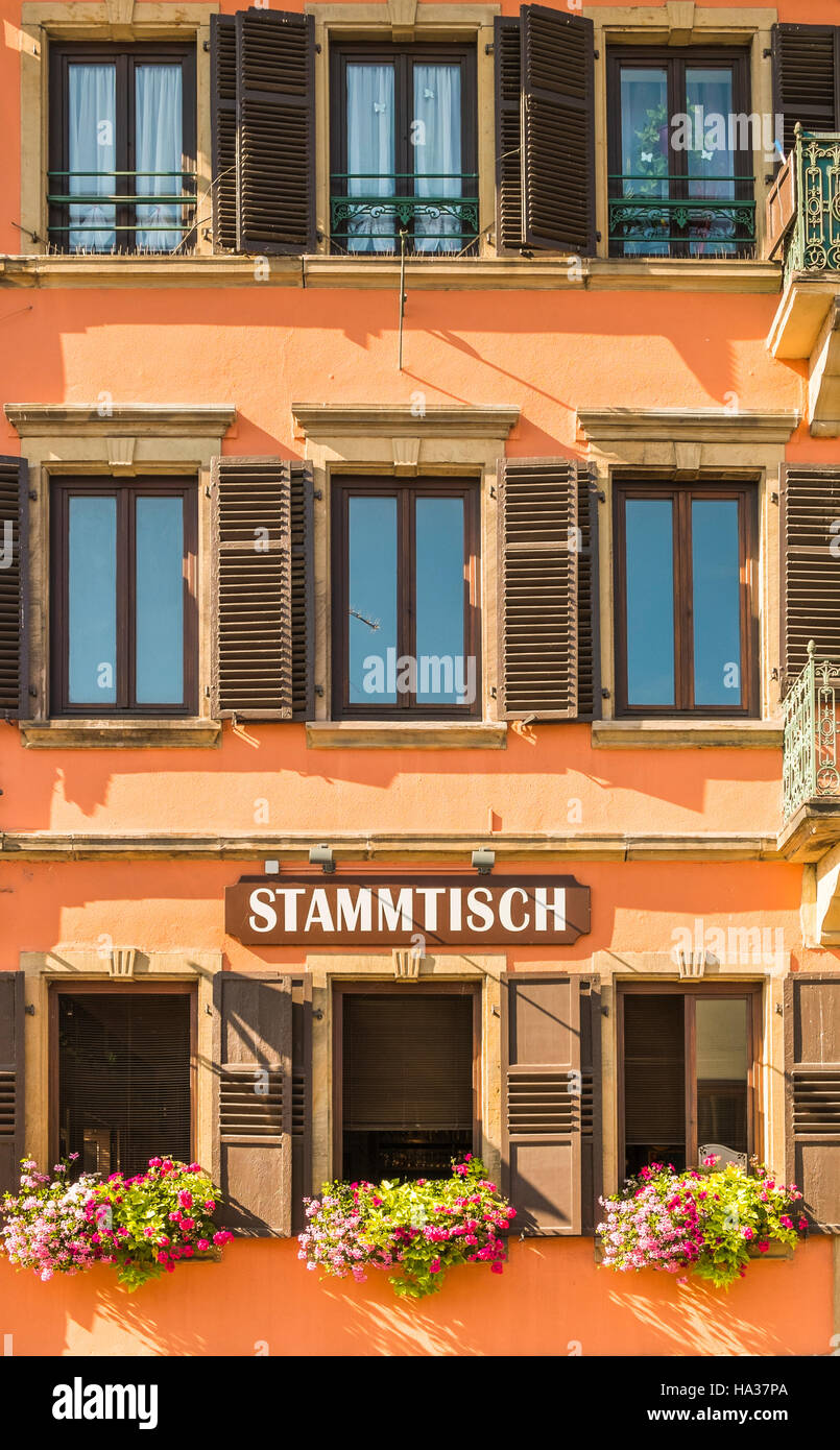 outside view of restaurant stammtisch, hochfelden, bas-rhin, alsace, france - Stock Image