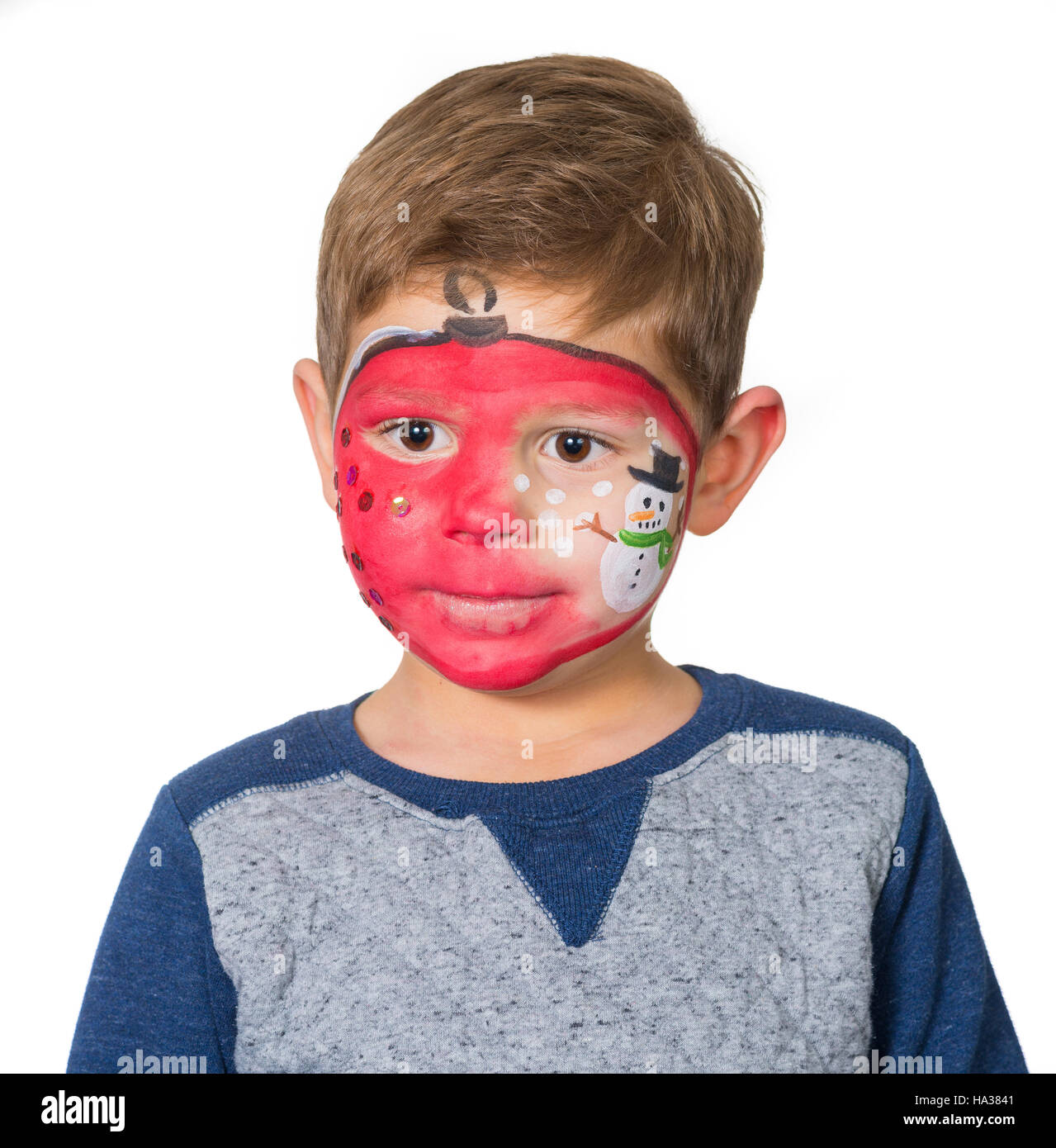 Christmas Face Paint.Christmas Face Painting Stock Photo 126691377 Alamy