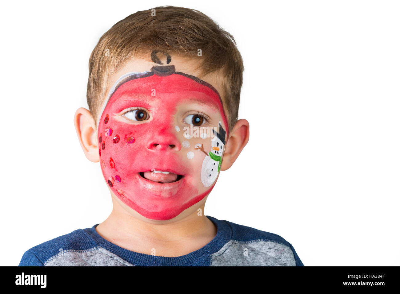 Christmas Face Paint.Christmas Face Painting Stock Photo 126691391 Alamy