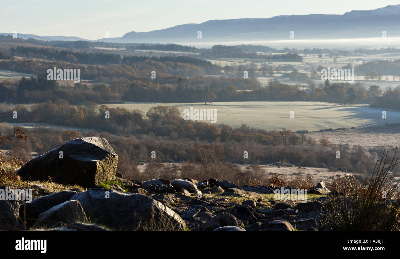 Small resting area midway up Conic Hill Scotland UK - Stock Image