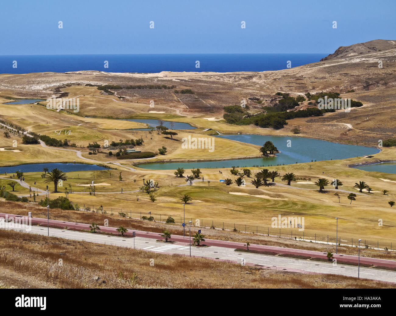 Portugal, Madeira Islands, Porto Santo, View of the Porto Santo Golf. - Stock Image
