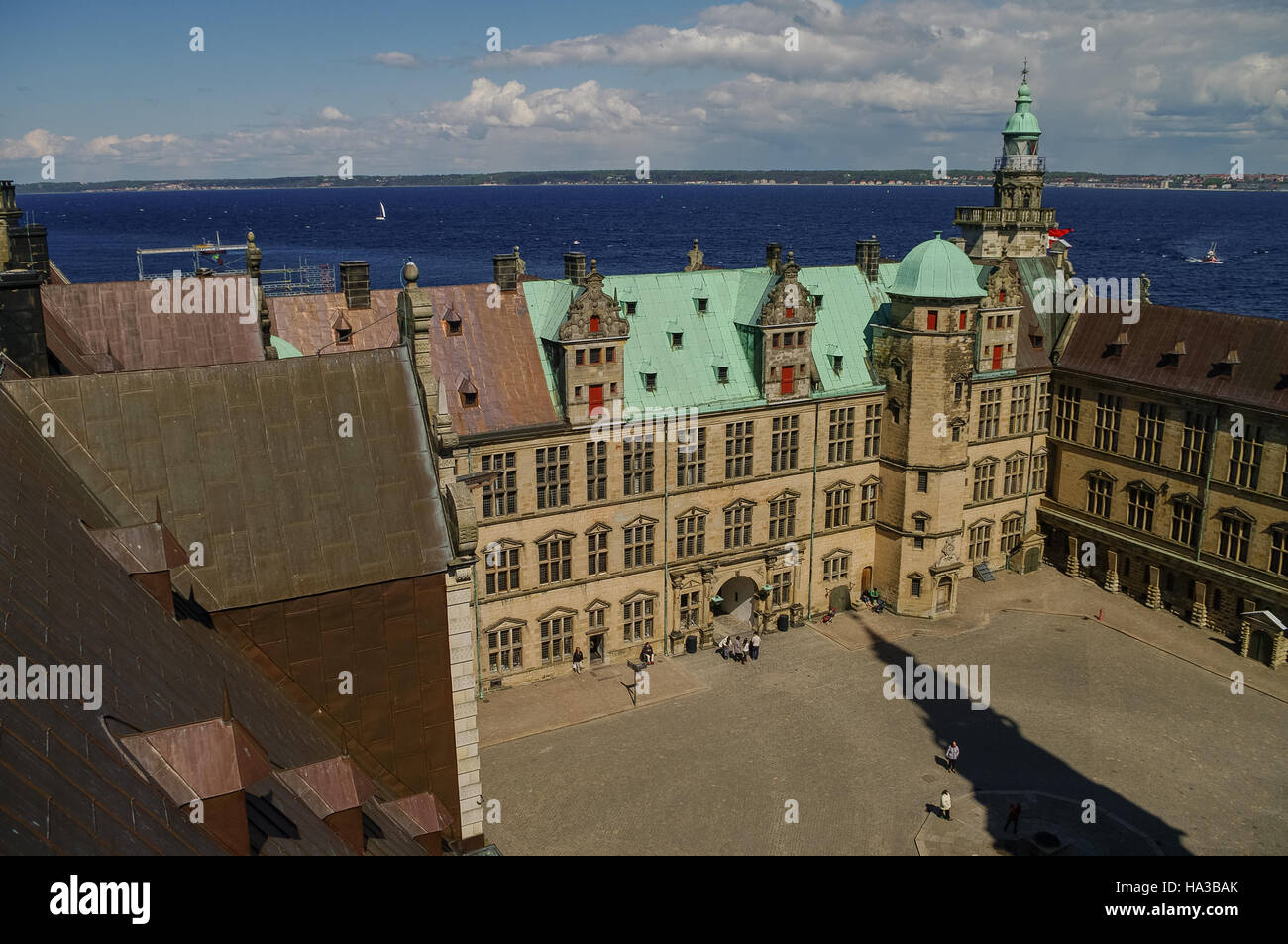 View from roof to  renaissance castle Kronborg courtyard  to Helsingborg city and strait between Denmark and Sweden. - Stock Image