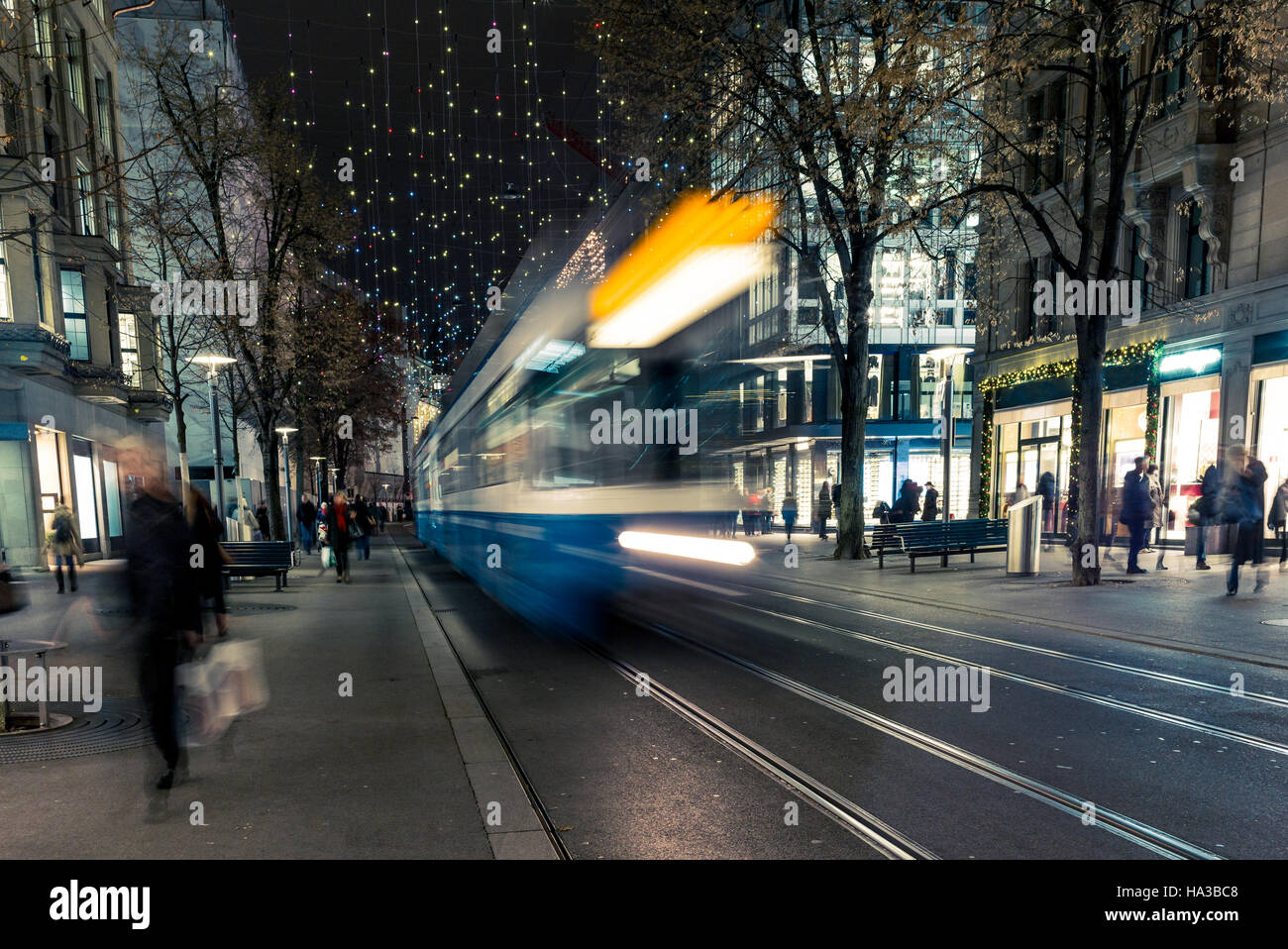 Christmas shopping in the decorated Zurich Bahnhofstrasse - 3 - Stock Image