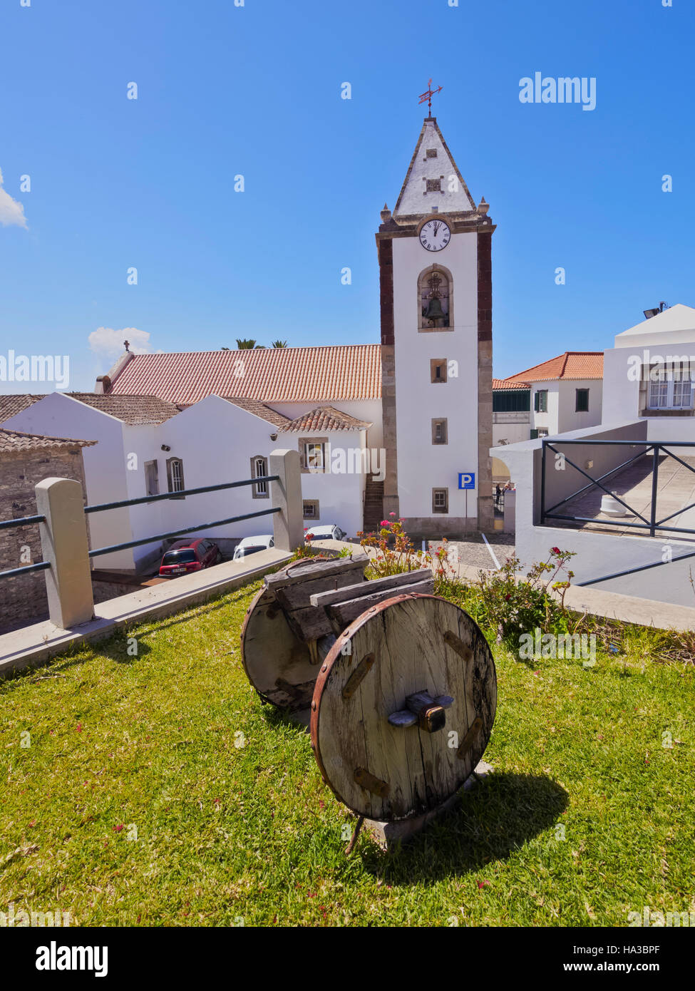 Portugal, Madeira Islands, Porto Santo, Vila Baleira, View of the Church Nossa Senhora da Piedade. - Stock Image