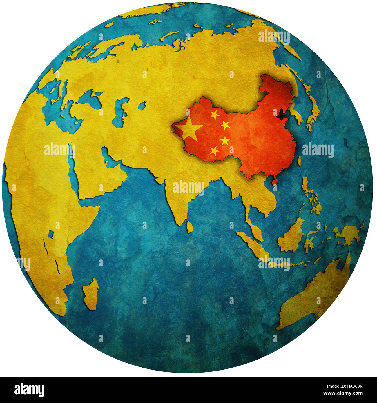 isolated over white territory of china with flag on globe map