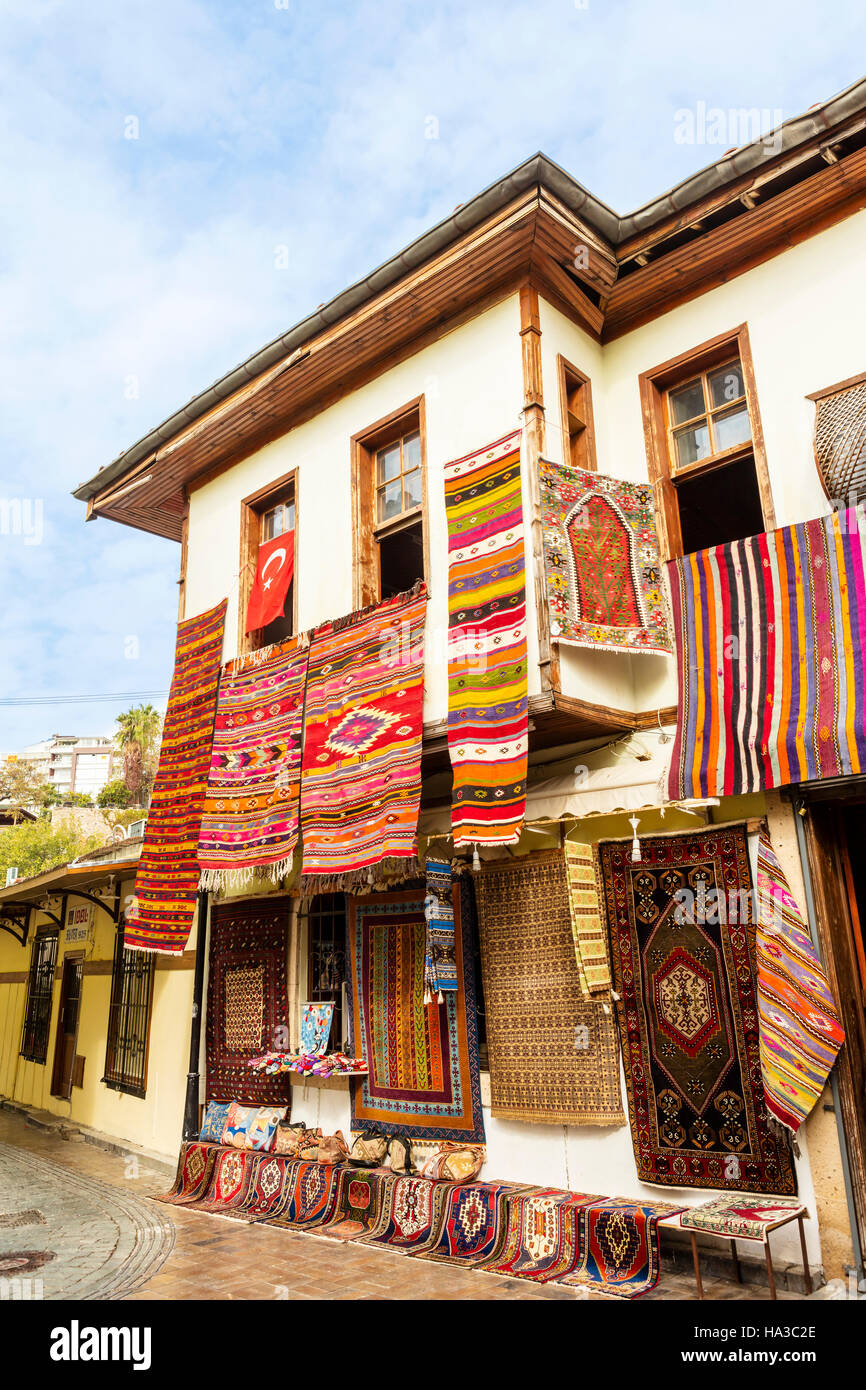 Eastern town street shopping for carpets and souvenirs. - Stock Image