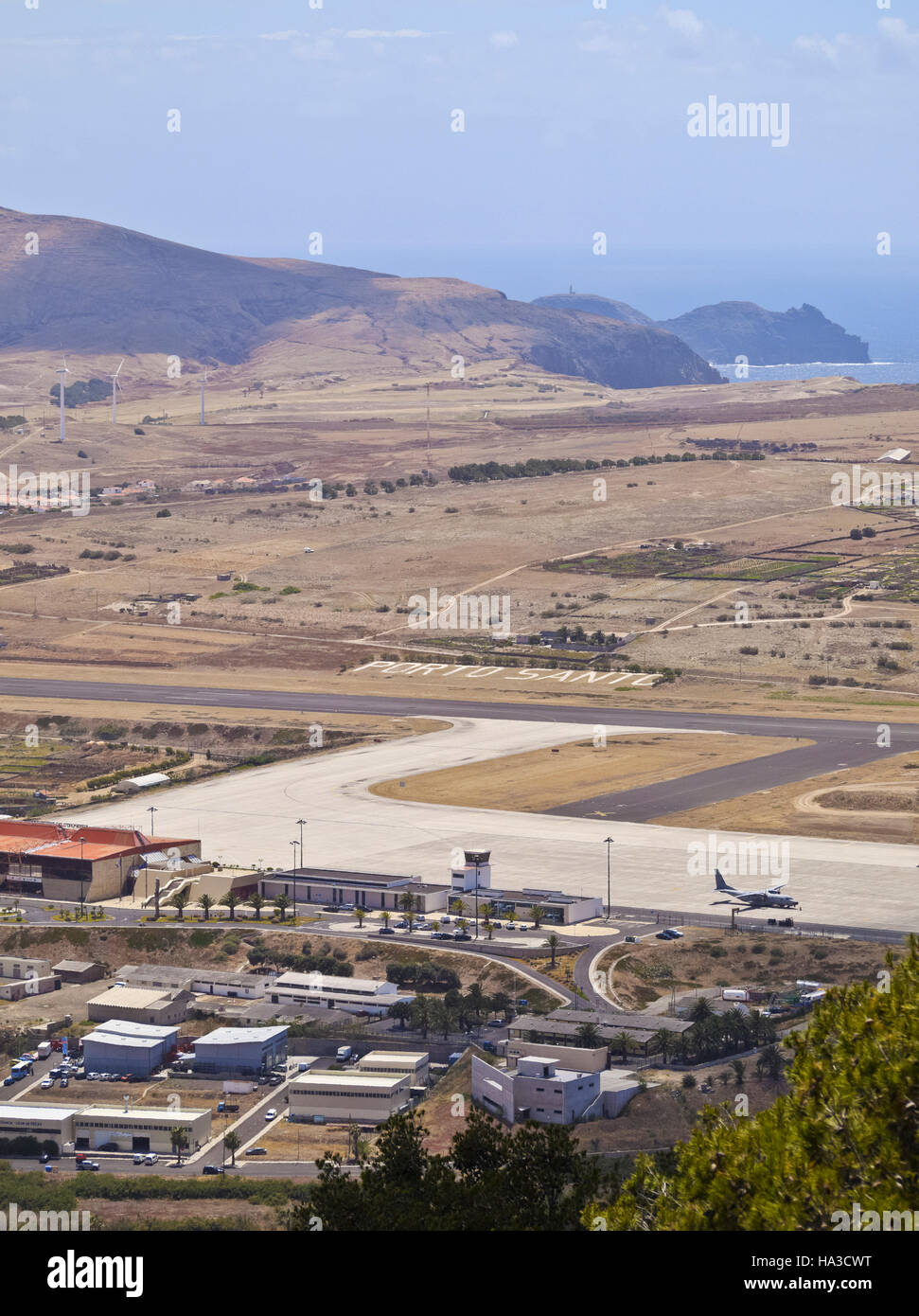 Portugal, Madeira Islands, Porto Santo, View of the Porto Santo Airport. - Stock Image
